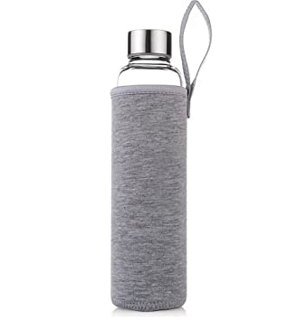 HMILYDYK - Botellas de cristal con infusor de té, 550ml, funda