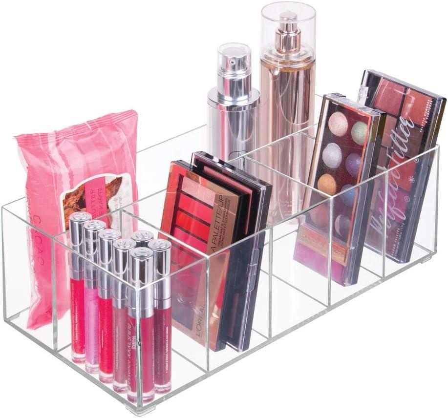 mDesign Organizador de maquillaje – Caja transparente con 6 ...