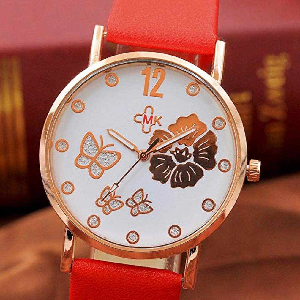 Clásicos Mujer Cuarzo Reloj,Scpink Elegante Y Mado con Flores Y PatrÓN de Mariposa Reloj con Dial Redondo Reloj Digital Correa de Cuero CÓModa (Blanco): ...