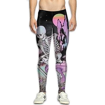 GFGRFDD Compression Pants, Men Running Movement Gym Yoga Bodybuilding Thinking Skull 3D Printing Leggings