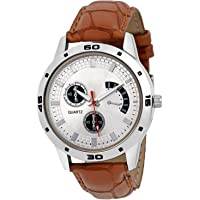 VeBNoR Analogue White Dial Brown Leather Strap Belt Wrist Watch for Boys and Men Stylish Latest -425