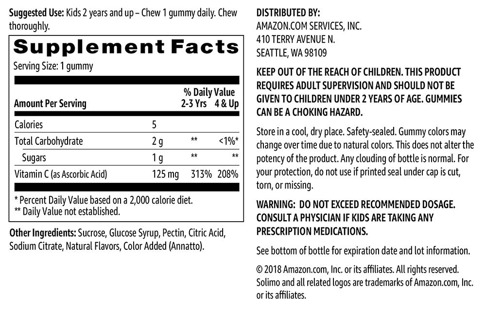 Amazon Brand Solimo Kids' Vitamin C, 125mg, 60 Gummies, 2 Month Supply