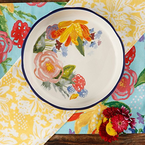 The Pioneer Woman Celia Pie Pan 9'' Blue Floral Ceramic Stoneware by Gibson (Image #2)