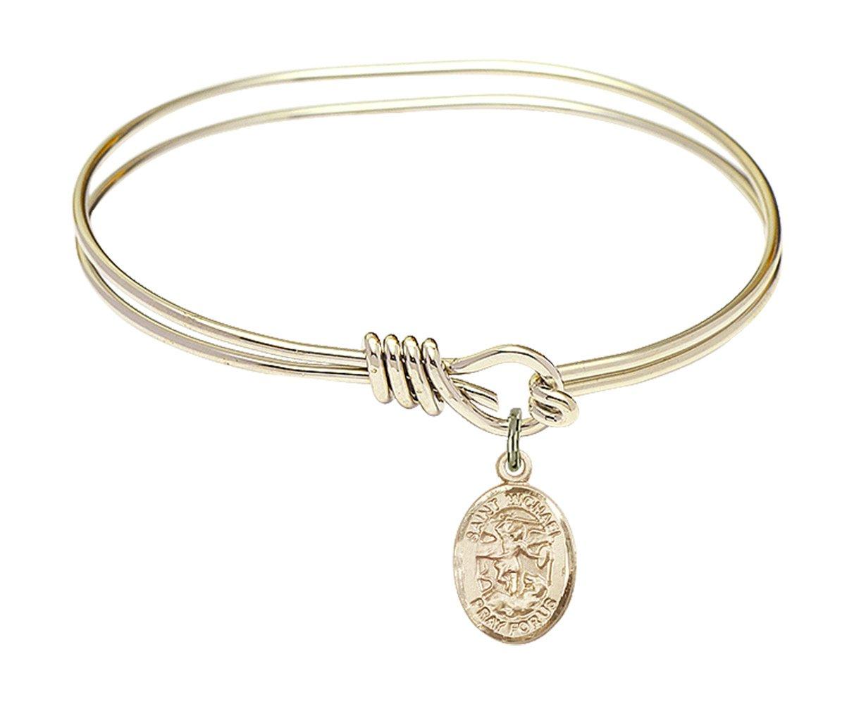 5 3/4 inch Oval Eye Hook Bangle Bracelet w/ St. Michael the Archangel in Gold-Filled