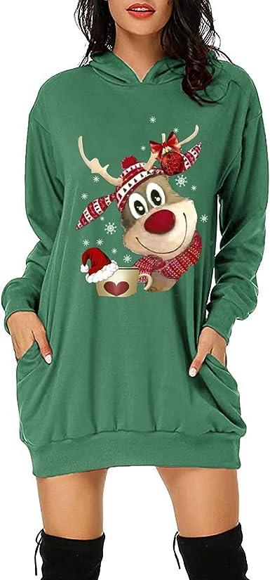 Women xmas long sleeve jumper top CHRISTMAS santa loose baggy tunic shirt blouse