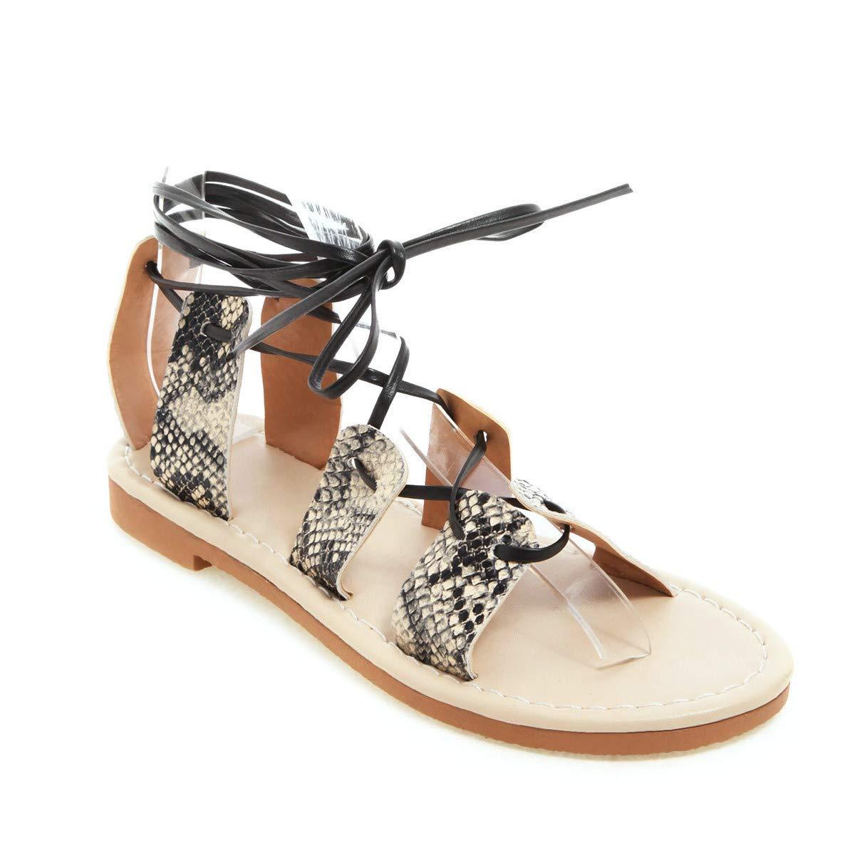Hot Summer Cutout Lace Up Flats Leg Wrap Rome Sandals Open Toe Ankle-Cross Summer Beach Shoes (Yellow, 5)