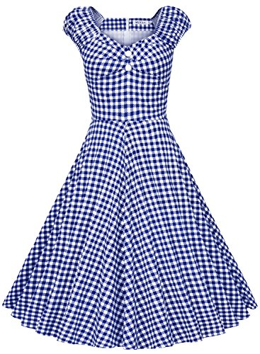 [MUXXN Women's 1950s Style Vintage Swing Party Dress (M, Blue Plaid)] (Dorothy Dress)
