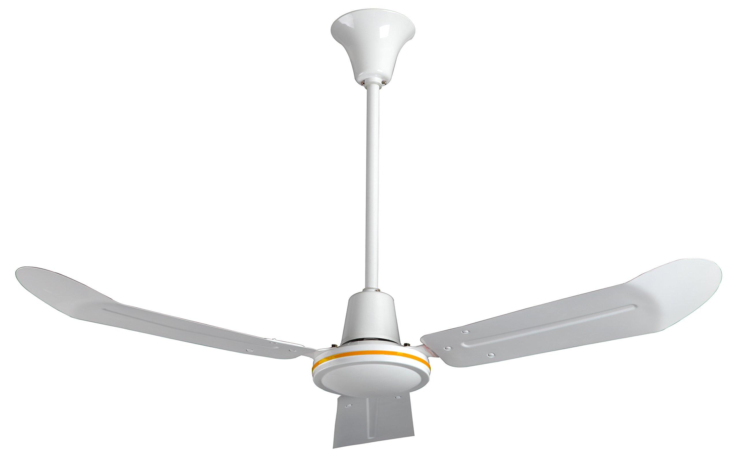 VES 48'' Commercial Ceiling Fan, Forward/reverse, 18'' Downrod, 120v, White