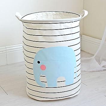 Yiuswoy plegable cesta para la ropa sucia (algodón Tejido para ropa sucia redondo cestas de almacenamiento con asas para bebé y niños juguetes, ...