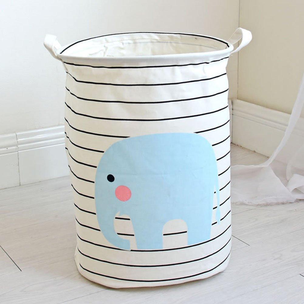 Yiuswoy Foldable Cotton Fabric Laundry Basket Round Storage Baskets with Handlesas Baby Storage, Toy Storage - Elephant