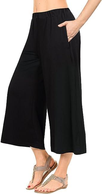 GlorySunshine Womens Elastic Waist Solid Palazzo Casual Wide Leg Pants with Pockets