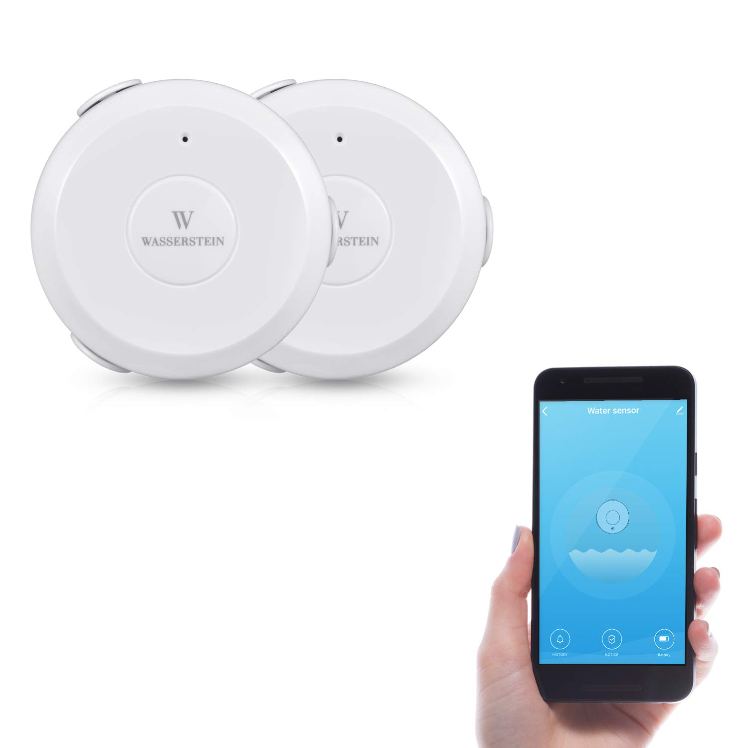 AC Powered Smart Wi-Fi Water Sensor, Flood and Leak Detector with 6ft/1.8m Cable- Alarm and App Notification Alerts, No Expensive Hub Required, Simple Plug & Play by Wasserstein (2 Pack) by Wasserstein