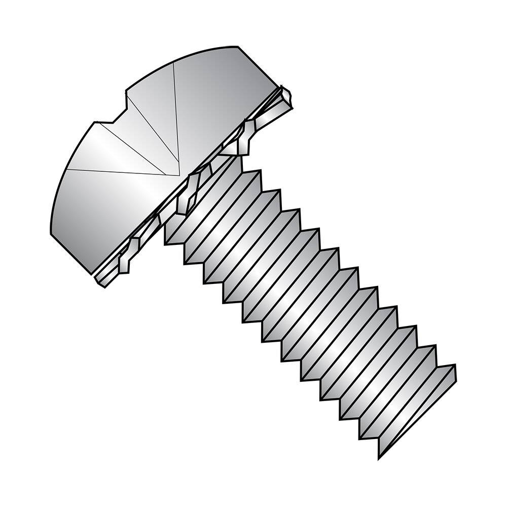 410 Stainless Steel Pan Head Machine Screw With External-Tooth Lock Washer, 18-8 SS Finish, Meets ASME B18.13, #2 Phillips Drive, #6-32 Thread Size, 1/4'' Length, Fully Threaded, Import (Pack of 50)