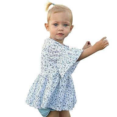 f9213a4038f94 ADESHOP Robe Fille Enfant Manches Petit Floral Manchon D Enceinte Mini Robe  À La Mode