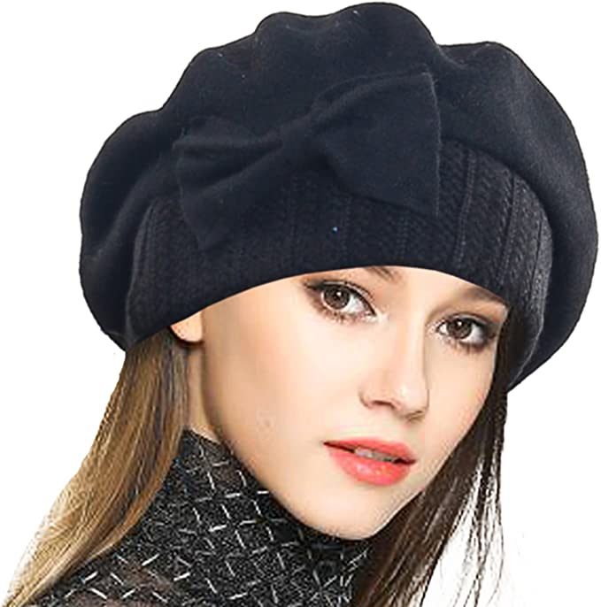 1920s Style Hats VECRY Lady French Beret - 100% Wool Beret Dress Beanie Winter Hat £18.76 AT vintagedancer.com