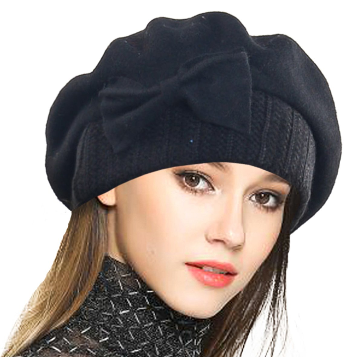 VECRY Lady French Beret 100% Wool Beret Floral Dress Beanie Winter Hat (Bow-Black)