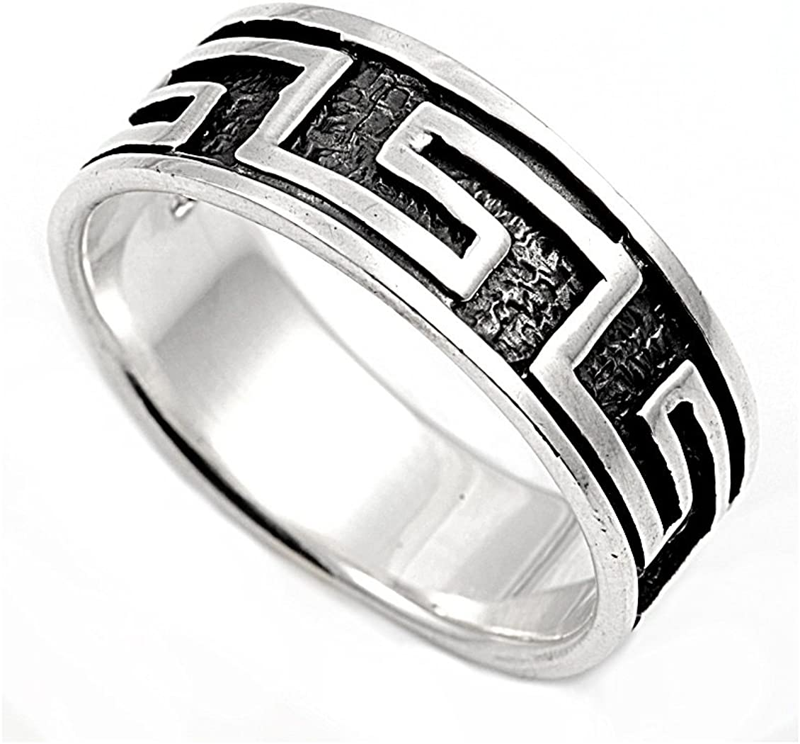 Princess Kylie 925 Sterling Silver Eternity Greek Pattern Ring