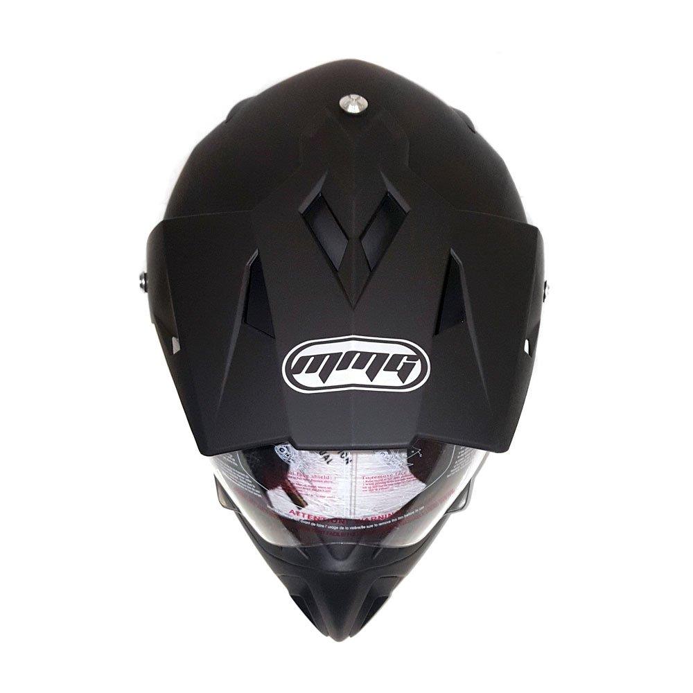 Helmet Dual Sport Off Road Motorcycle Dirt Bike ATV - FlipUp Visor - 27V (L, Matte Black) by MMG (Image #3)