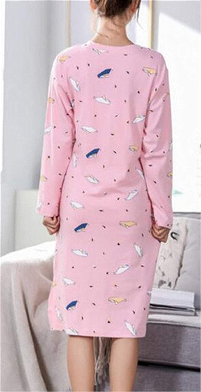 Camicia da Notte Taglie Forti da Donna T Shirt da Notte Maniche Chic Lunghe Girocollo Camicia da Notte Pigiama Donna Casual con Taschino da Notte Ragazza
