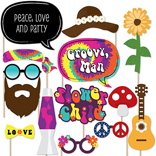 60's Hippie - 1960s Groovy Party Photo Booth Props Kit - 20 Count - Pictures Of Hippies In The 60s