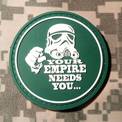 Your Empire Needs You Star Wars PVC Rubber Morale Patch by NEO Tactical Gear Morale Patch - Hook Backed (Green & White) (We Dropship For You)