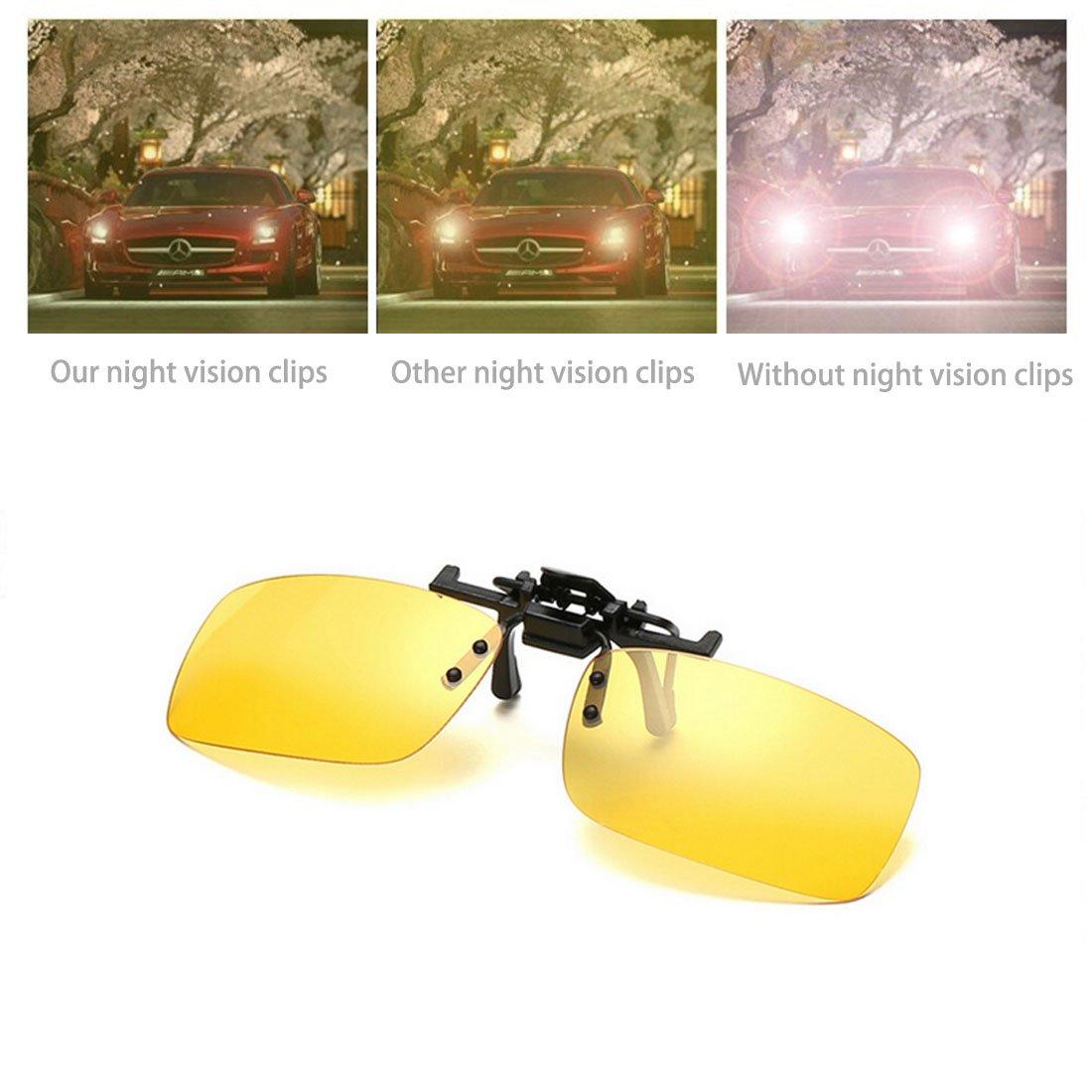 YiHao 2 pares de gafas de sol unisex Clip en lentes polarizados de visión nocturna, protección UV400 antirreflectante Drivingv caza esquí Deportes al ...