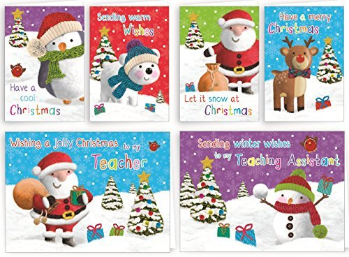 32x Kinder Glitzer Weihnachten Karten Schule Pack für Klasse Freunde ...