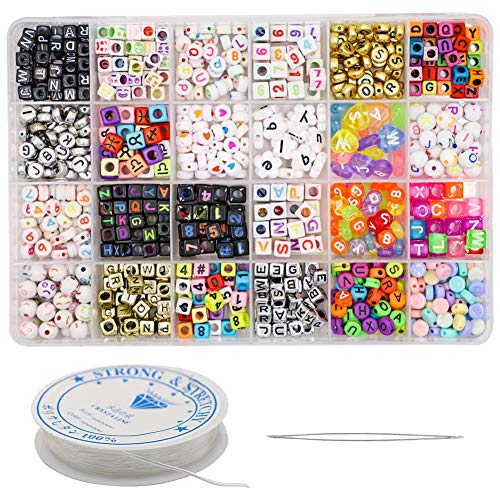 ZTL 680 Pieces Alphabet Letter Number Cube Beads Round Beads with 1 Roll 8M Elastic String Cord and Beading Needle for Jewelry Making, Bracelets, Necklaces, Key Chains and Kids Jewelry