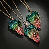 Gyoume Necklace for Women Graduation Ceremony Necklace Gift Paty Dress Decoration Silver Rainbow Stone Necklace(Colorful)