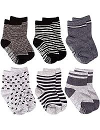Baby Socks, 6 Pairs Non Skid Anti Slip Cotton Grip Socks for Toddler Baby