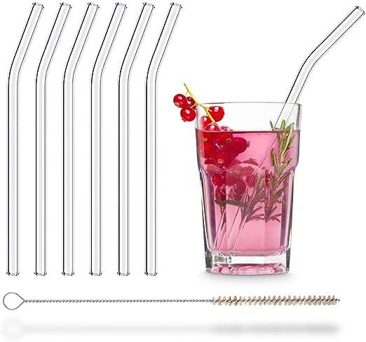 HÅLM Pajitas de Cristal Reutilizables – 6 Unidades curvadas 20 cm ...