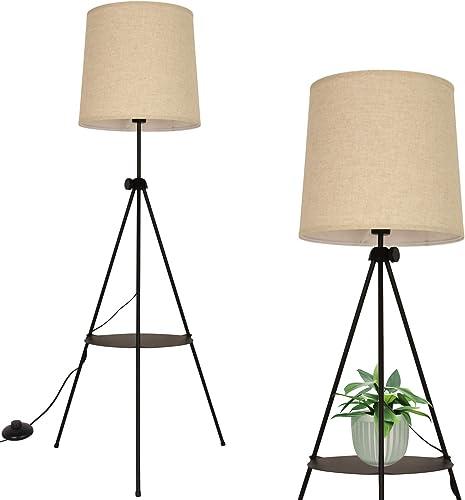 Modern Industrial Flaxen Lampshade Tripod Floor Lamp