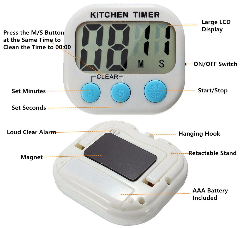 Great Polly 3 Pack Digital Kitchen Timer Cooking Timers Clock with Alarm Magnetic Back and Stand, Minute Second Count Up Countdown, Large LCD Display Batteries Included by Great Polly (Image #2)
