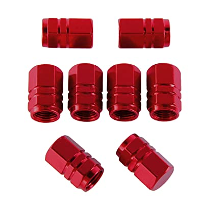 8pcs Pieces Tire Stem Valve Caps Wheel Valve Covers Car Dustproof Tire Cap, Hexagon Shape (Red) (Red): Automotive