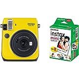 Fujifilm Instax Mini 70 Canary Yellow Fotocamera Istantanea per Stampe, 62x46 mm, Giallo con Mini Film Pellicola Istantanea, Confezione da 20 Foto, 1 Pezzo