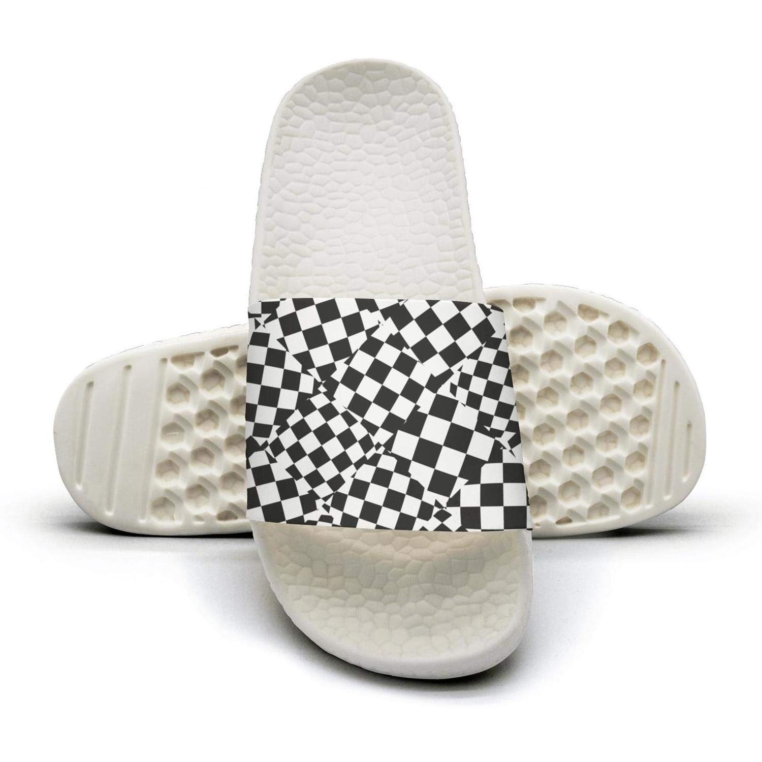 TAKLOOL Checkerboard Random Checkered Texture wear-Resistant Comfort Womens Slides Sandal