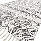 Eyes of India - 3 X 5 ft Black White Cotton Block Print Area Accent Dhurrie Rug Flat Weave Woven Boho Chic Indian Bohemian