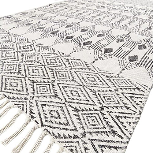 Rug White Country - Eyes of India - 3 X 5 ft Black Off-White Cotton Block Print Area Accent Dhurrie Rug Flat Weave Woven Boho Chic Indian Bohemian