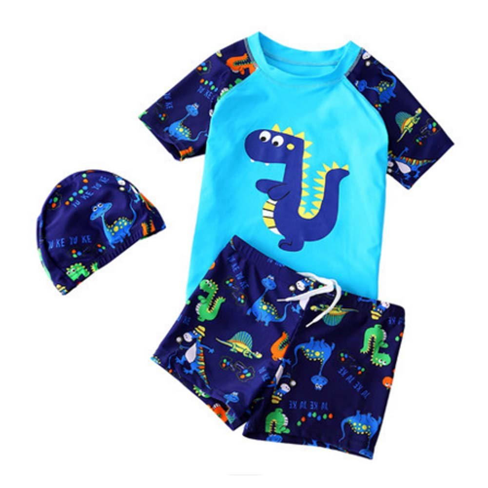 Asian Size 2XL Funny Boys Swimsuit Blue Dinosaur Two Pieces Bathing Suit PANDA SUPERSTORE