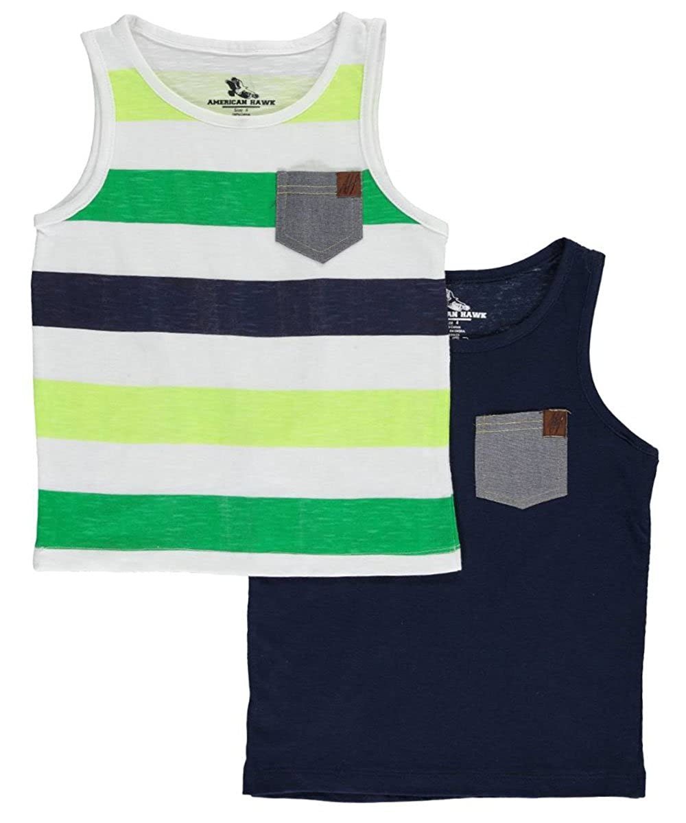 American Hawk Little Boys' Toddler Chambray Pop 2-Pack Tank Tops 2t