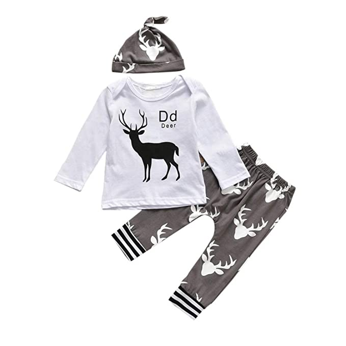 Yannerr 3PCS Bebé niña niño ciervos letra Inferior camiseta tops+pantalones +sombrero Conjunto,