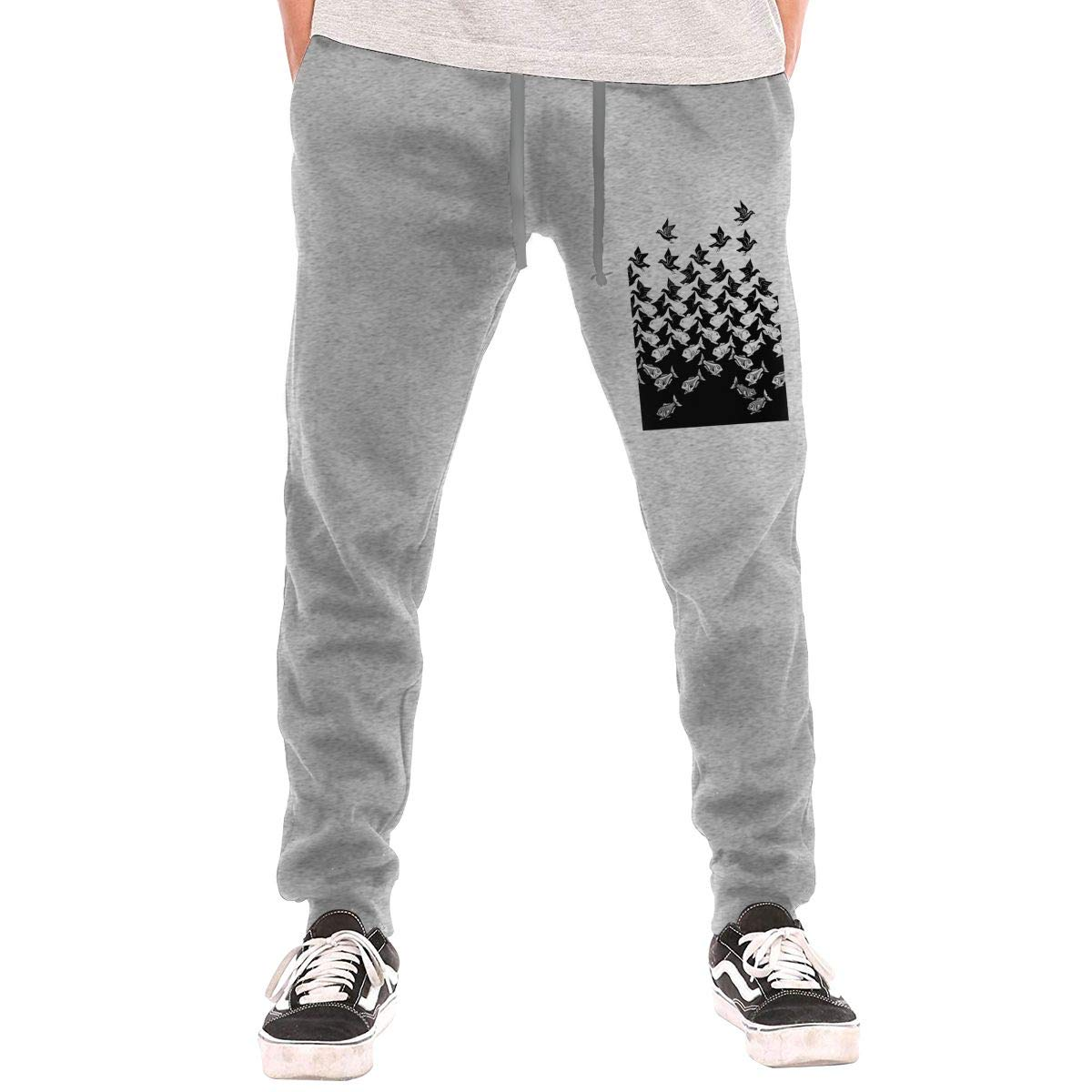 Mans Stylish Lounge Sleep Sweatpants Fish and Birds Art Deco Trousers with Pockets