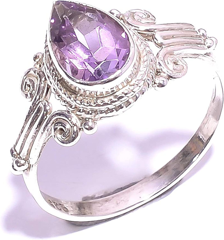 mughal gems & jewellery Anillo de Plata esterlina 925 Anillo de joyería Fina de Piedras Preciosas de Amatista Natural para Mujeres y niñas Tamaño 7.25 EE. UU. (ZR-940