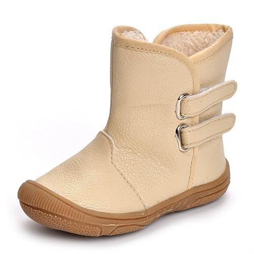 a84cde4e0aada Toddler Boys Snow Boots Little Kids Beige Winter Warm Shoes Baby Boys  High-Top Rubber
