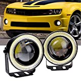 2006 mazda 6 halo rings - CLKJDZ 2x 2.5'' 30W COB White Angel Eyes Halo Ring Car LED Projector Lens DRL Fog Light