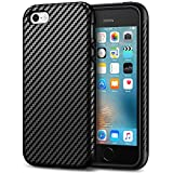 Tasikar iPhone SE Case Good Protection Carbon Fiber Leather Design Cover Case for iPhone SE iPhone 5S 5 (Black)