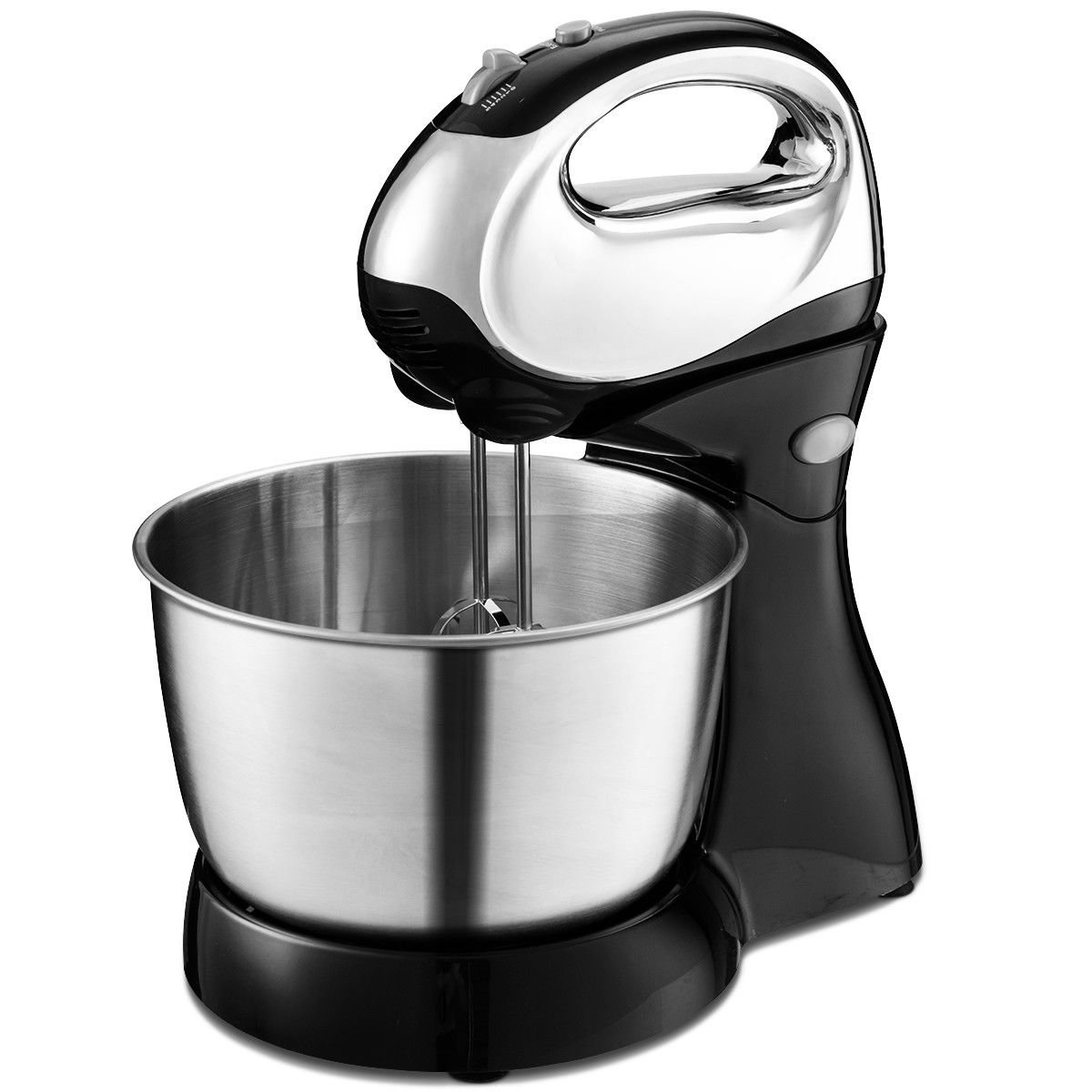 Costway 200W Stand Mixer, 5-Speed Stand Mixer and Hand Mixer with Stainless Steel Mixing Bowl, Dough Hooks & Beaters Stainless Steel Bowl (Black)