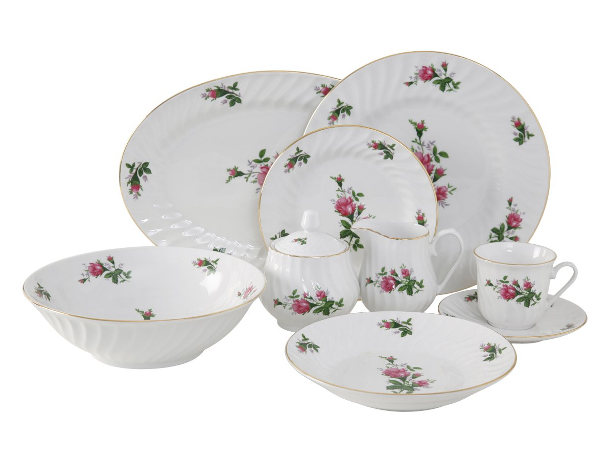 Amazon.com Ciera 45-Piece Vintage Rose Dinner Set with Gold Trim; Vintage Floral Kitchen u0026 Dining  sc 1 st  Amazon.com & Amazon.com: Ciera 45-Piece Vintage Rose Dinner Set with Gold Trim ...