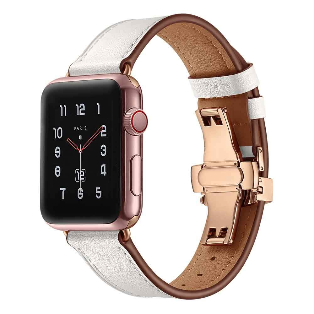Watch Bands,Butterfly Buckle Leather Wrist Watch Strap Band Compatible with for IWatch Apple Watch 40mm