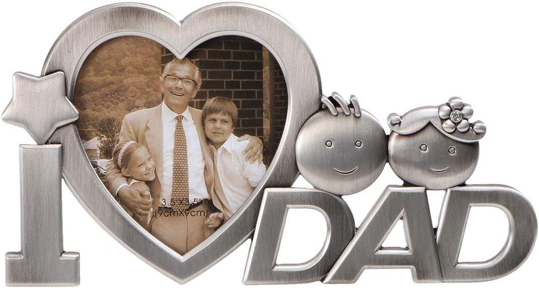LUOEM Regalo para el Cuadro de Foto de Padre Metal Picture con la Letra de I Love Dad (Plata)